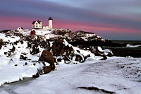 Nubble Lighthouse in Winter's Snow